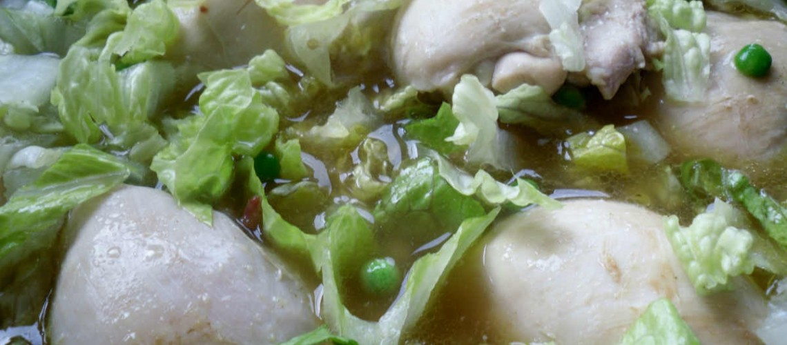 Herbed Chicken with Pea and Lettuce Broth Recipe