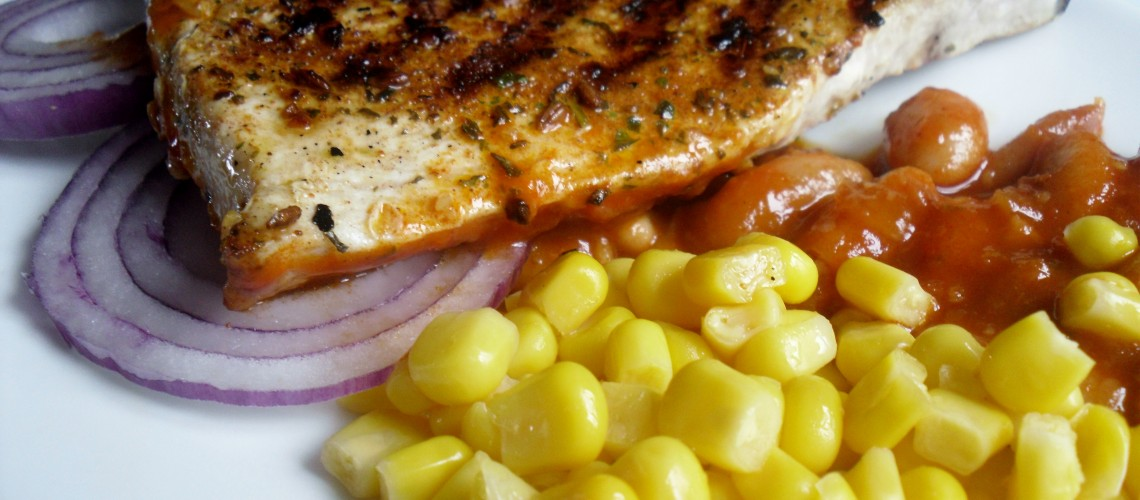 Mexican Swordfish with Smokey Beans Recipe