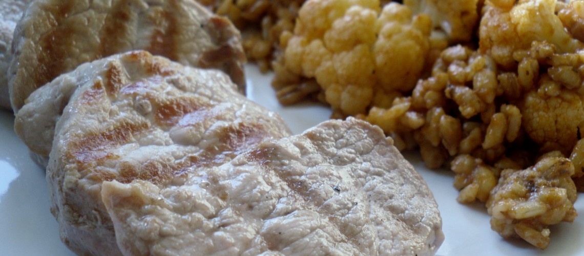 Pork Tenderloin with Cauliflower Pilaf Recipe