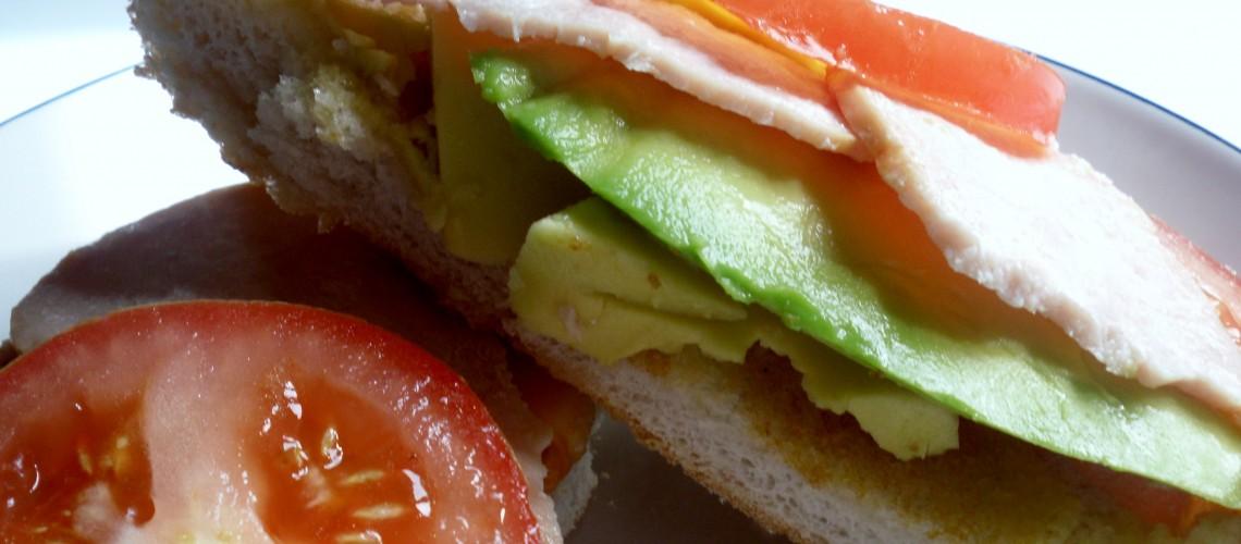 Toast with Turkey Rashers, Avocado and Tomatoes