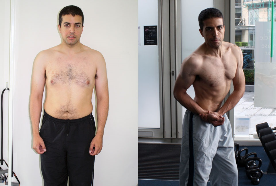 The client with 86 kg (189.2 lbs; 13.5 stones), 99 cm (39.6 inches) waist and 26.5% body fat, has cut fat down to 66.6 kg (145.2lbs; 10.5 stones), 70.5cm (28.2 inches) waist and 9.4% body fat in 11 months of personal training at RolandasPT4U in London